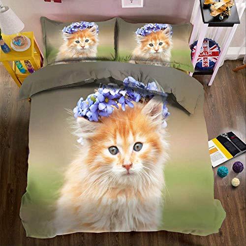 WGLG Double Duvet Set, Happy Cat Family 3D Bed Sheet Duvet Cover Pillowcase Home Textiles Adult Children Bedding Set Home Decor