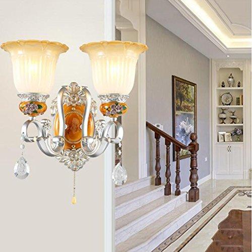 Lámpara de pared europea Dormitorio Lámpara de cabecera American Living Room Fondo Lámpara de pared Simple Creativa Lámpara de pasillo Lámpara de escalera Individual y Doble Cabeza Opcional