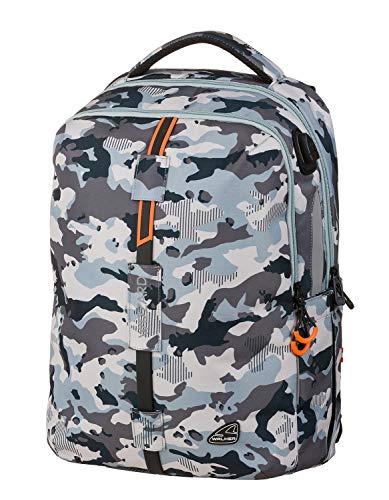 Walker Rucksack Wizzard Elite, Camouflage, mit 2 Fächern, Laptopfach, Seitentaschen, atmungsaktive Polster, Hüftgurt und Brustgurt, ca. 46 x 32 x 23 cm, 34 Liter, Blau-grau