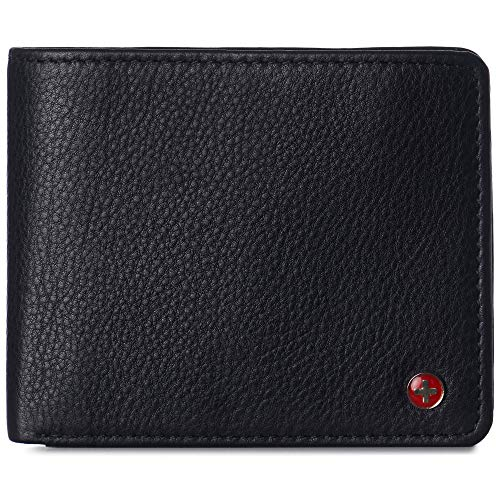 Alpine Swiss Mens Nolan Bifold Commuter Wallet Cowhide Leather RFID Safe Comes in a Gift Box Black