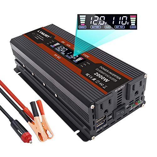 Yinleader 1000W /2000W(Peak) Car Power Inverter DC 12V to 110V AC Converter with Intelligent LCD Display Dual AC Outlets Dual USB Charger for RV Caravan Truck Laptop(Black)