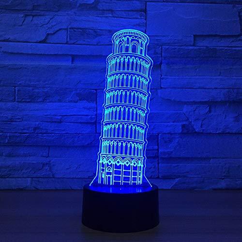 hqhqhq Schiefer Turm von Pisa Form Acryl LED Lampe Glockenturm 3D Nachtlicht Für Kleinkinder Schlafbeleuchtung 3D Lampe Mit Fernbedienung -1314