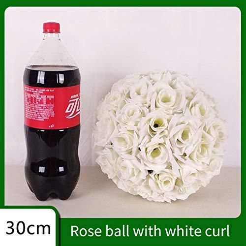 MMI-LX PYCONG 15 cm, 20 cm, 25 cm, 30 cm, 35 cm, 40 cm, bola de flores de seda artificial, decoración de boda para fiestas familiares (color blanco, tamaño: 20 cm)