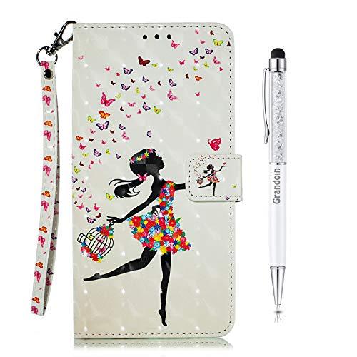 Grandoin Hülle für Samsung Galaxy A8S, PU Leder Etui Flip Cover Book Hülle Prägung Muster Schutzhülle Handytasche Handyhülle [Ständer Kartenfach] [Magnetverschluss] (Mädchen)