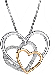 TODUBEM 925 Sterling Silver heart Pendant Necklace for Female Women Ladies Girls Gift Jewelry