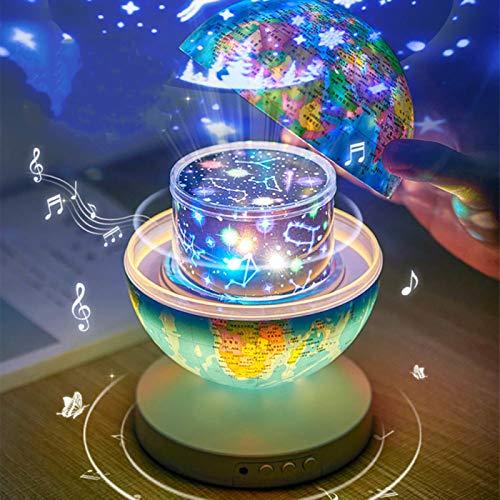 JINQII Lâmpada de projeção musical para crianças, luz noturna dupla de projeção de mapa-múndi redonda com 6 padrões de projeção coloridos, globos científicos AR para controle remoto para quarto