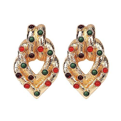 Pendientes De Gota De Mujer - Geometría De Cristales De Colores Pendiente Colgante, Diseño De Diamantes De Imitación Encanto Femenino Moda Accesorios Colgantes Vintage, Bisutería De Todo Fósforo
