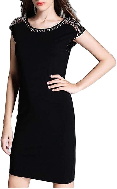 SweatwaterCA Womens Solid Classic Short Sleeve Summer Slim Sequins Dress
