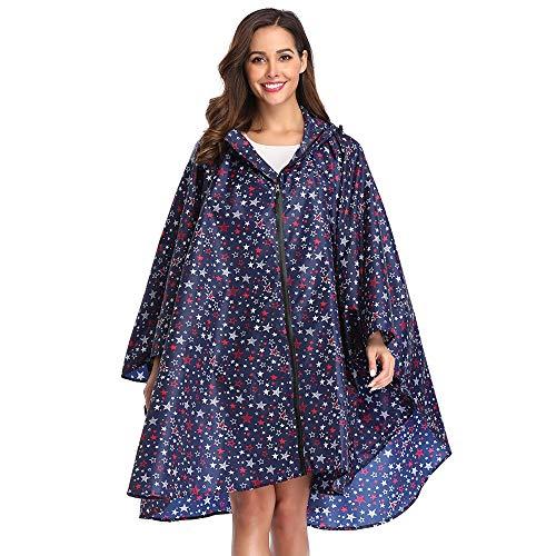 Summer Mae Summer Mae Regen Poncho Jacke Mantel für Erwachsene mit Kapuze wasserdicht mit Reißverschluss im Freien,Einheitsgröße,Blau Sterne