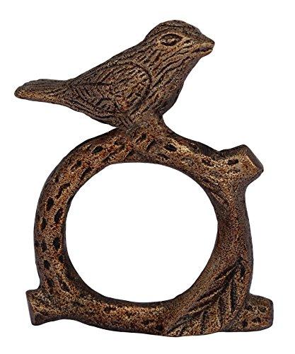 ITOS365 Handmade Songbird Bird on Tree Branch - Aluminium Metal Napkin Rings Set of 8 Holder for Dinning Table Parties Everyday (Pack of 8)