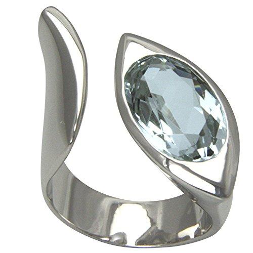 SKIELKA DESIGNSCHMUCK Aquamarin Ring Silber Goldschmiedearbeit (Sterlingsilber 925) - Silberring mit Aquamarin 16x10 mm - mit Wert-Expertise