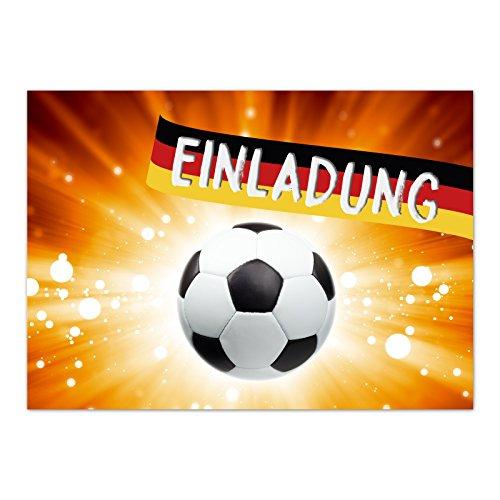 15 x Einladungskarten (Fussball auf Feuer) im Postkarten Format mit Umschlag/Fussball/WM/Party/Feier/Einladung