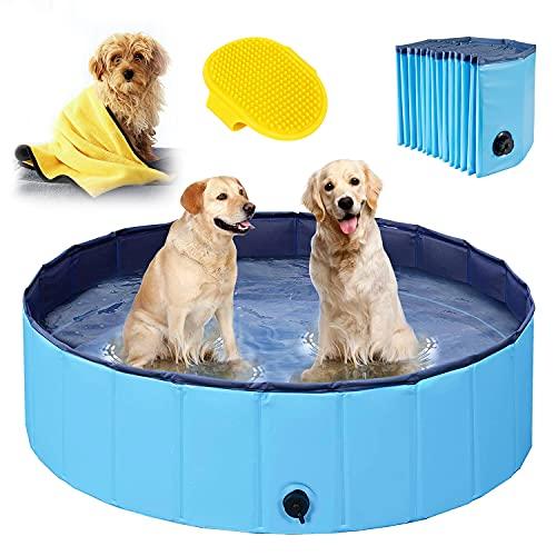 Hundepool für Große & kleine Hunde, Faltbare Schwimmbecken für Kinder 80cm/120cm/160cm, Verdicktes Baby Badewanne Wasserbecken, rutschfest Planschbecken mit Mikrofaser Handtuch und Hundebürste - 120cm