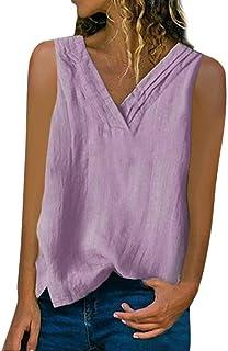 Camiseta regata feminina de linho e algodão HIRIRI com gola V e sem mangas para o verão, cor lisa, casual, solta, colete