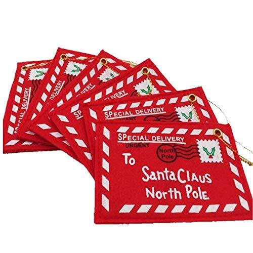 IUwnHceE Árbol de Navidad sobre de la Tarjeta de felicitación Ornamento Colgante de Santa Claus Carta Regalo para Papá Noel Polo Norte sobre de la Navidad Colgante 10Pcs Casa y jardín