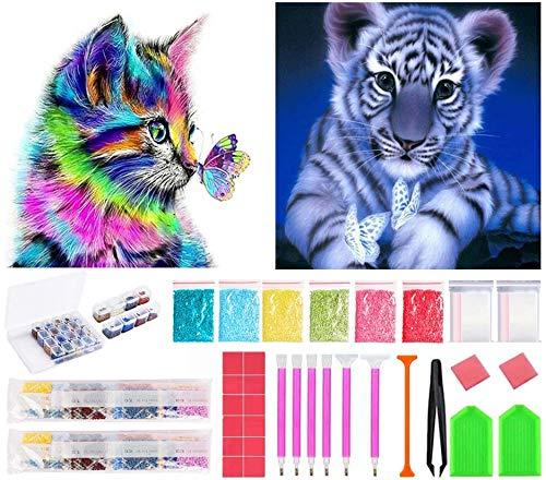 Bellatoi DIY 5D Diamante Pintura Kits, Gato y tigre Rhinestone Bordado de Punto de Cruz Artes Manualidades Lienzo Pared Decoración