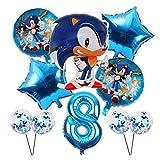 Xx101 Globo 10pcs Historieta Sonic Globos Set Star Confetti Látex Número de 32 Pulgadas para Fiesta de Cumpleaños Suministros de Decoración de Fiesta Niños Regalos de Juguete