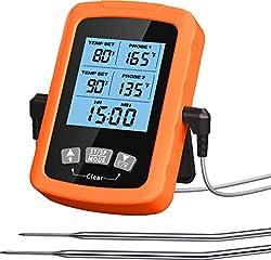 【HAUTE PRÉCISION & LECTURE ULTRA RAPIDE】Le thermomètre cuisson au four comprend des sondes de qualité alimentaire, peut obtenir la température plus précisément et plus rapidement en 1 à 3 secondes avec un capteur de haute précision. Les fils de sonde...