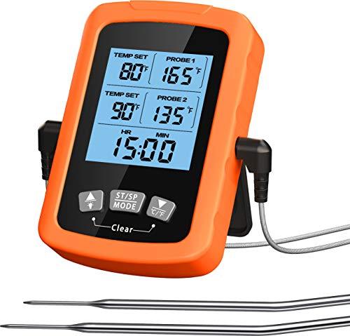 Cocoda Termometro Cocina, Termómetro Digital de Cocina Impermeable con Doble Sonda de...