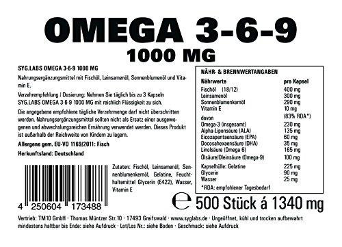 Syglabs Nutrition Omega 3 – 6 – 9, 1000 mg hochdosiert + Vitamin E – 500 Kapseln - 2