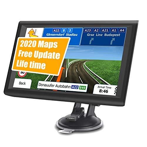 GPS Navigatore Satellitare per Auto Camion,9 Pollici Touchsceen Navigatore 8GB 256MB con POI Avviso autovelox Guida vocale Lane Programma gratuito a vita Aggiornamento UE e Nord America