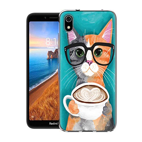 Pnakqil Hülle kompatibel mit Xiaomi Redmi 7A Phone, Silikon Schutzhülle TPU Clear Transparent Kratzfest Ultra Dünn Stoßfest Motiv Muster Handyhülle Weiche für Xiaomi Redmi 7A,Katze & Kaffee