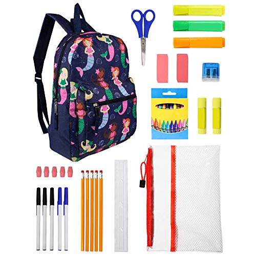 15 Inch Bulk Backpacks with 36 Piece School Supply Kits – Case of Backpacks in 3 Assorted Prints 24 Value Bundle Pack (Assorted 2)