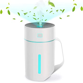 Braoses Cool Mist Humidifier 420ML, Ultrasonic Aromatherapy Diffusers Up to 15H Use With 4 Hours Automatic Shut off, 7 Color LED Lights, Portable