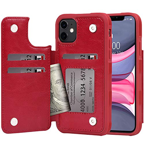 Arae Case for iPhone 11 PU Leather Wallet Case with Card Pockets Back Flip Cover for iPhone 11 6.1 inch 2019 (Wine red)