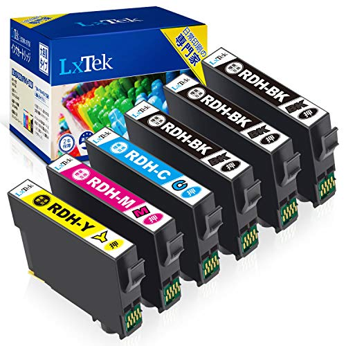 【LxTek】Epson用 PX-048A PX-049A インク RDH-4CL インクカートリッジ 6本セット(4色セット+黒2本) エプソン対応 リコーダー インク 『互換インク/2年保証/大容量/説明書付/残量表示/個包装』対応機種: PX-048A PX-049A