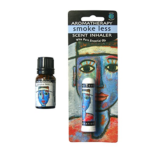 Earth Solutions Aromatherapy Smoke Less Kit Inhaler Plus Essential Oils Blend 10ml Smoking Cessation - Yoga Gifts | A Plant Derived Extract for Smoking Cessation, Clear/Amber