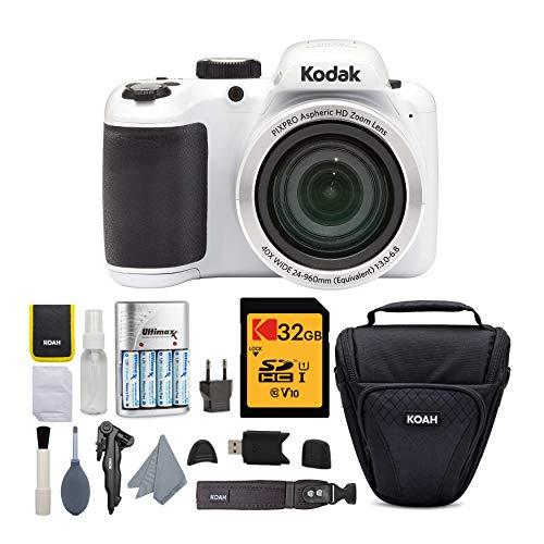 Kodak PIXPRO AZ401 40x Astro Zoom Digital Camera (White) with Koah Holster Case and Accessory Bundle (5 Items)
