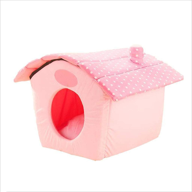 MIAOLIDP Polka dot dog house cat nest Teddy kennel small dog than bear Bomei dog mattress pet cat house pet nest Pet supplies (Size   S)