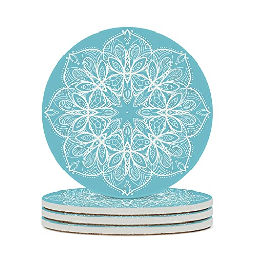 Wraill Round coasters, blue flower ceramic coasters, set of 4 / 6, drink coasters with cork back, round, 10 cm, white, 6 pieces