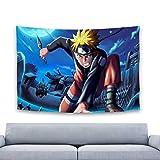 Tapiz de Naruto para colgar en la pared, tapiz de pared en 3D de Naruto, tapices de anime, arte de pared, decoración estética para el hogar, sala de estar, dormitorio, dormitorio, 60 x 40 pulgadas