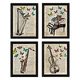 Nacnic Pack Jahrgang Vier Blätter Klavier, Harfe, Violine