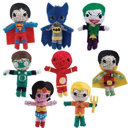 DC Comic Super Hero 2' String Doll Set Featuring Superman, Batman, Joker, Green Lantern, Flash, Robin, Wonder Woman and Aquaman