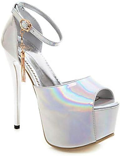 Weier. Ben Femmes Talons Chaussures Sexy Plateforme Plateforme Peep Toe en Strass PU (Polyuréthane) Classique Printemps et Eté Anglais@Argent_US5.5   EU36   UK3.5   CN35