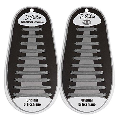Di Ficchiano DF-Silikon-Grey Premuim No Tie Shoelaces aus Silikon für Kinder und Erwachsene/Flache elastische Schnürsenkel für Sneaker, Sport- und Freizeitschuhe
