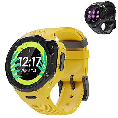 4G Kinderuhr mit GPS und Anruf Funktion GPS-Tracker Kind Jungen und Mädchen Wasserdicht, Bidirektionale Audio und Video Anrufe, SOS, Anti-Verlorenen Alarm, Kamera, MP3 - ELARI KidPhone 4GR (Gelb)