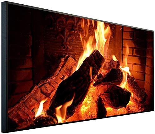 Ecowelle Infrarotheizung mit Bild   600 Watt   60x120x2 cm   Infrarot Heizung    Made in Germany  i 4 Kaminfeuer