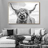 黒と白のバイソン牛アートキャンバスプリント絵画野生動物ファッション壁の写真リビングルームホーム農家の装飾ポスター30x45cmA