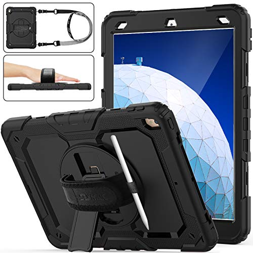 SEYMAC Stock iPad Air 3 Case 2019 / Pro 10.5 Case, Shockproof Armor Drop Protection Case with [360 Rotating Stand] Hand Strap [Screen Protector] [Pen Holder] for iPad Air 3rd Gen/Pro 10.5'' (Black)