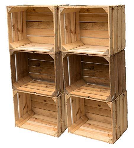 Gebrauchte Holzkisten im Set Angebot: Originale Vintage Obstkisten zum Möbelbau od. als Dekoration, sehr stabile Apfelkisten, geprüft und gereinigt 50x40x30 cm (6er Set)
