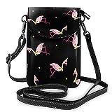Generic Flamingo in Hut und Schal, nahtlos, Vektorbild, kleine Umhängetasche, Handy, Portemonnaie – Frauen PU-Leder Handtasche mit verstellbarem Riemen für den Alltag