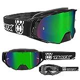 TWO-X Rocket Crossbrille schwarz Glas verspiegelt grün MX Brille Nasenschutz