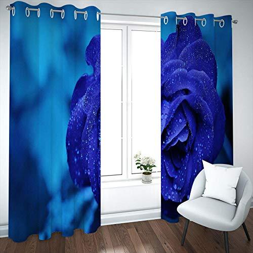 MENGBB Cortina Opaca Microfibra Infantil 160x180cm Flor Rosa Azul de Moda 95% Opaca Cortina aislantes de frío y Calor Decorativa con Ojales Estilo para Salón Habitación y Dormitorio