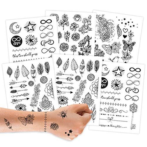 Papierdrachen 100 Tattoos zum Aufkleben - Hautfreundliche Tattoos Schwarz-weiß - stylische Designs - Für Junggesellenabschied, Mottoparty und Freizeit - vegan