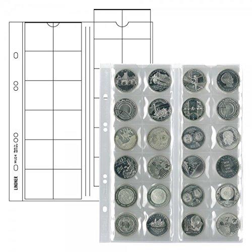 LINDNER Das Original Multi Collect Münzblätter für 24 Münzen bis 34 mm Durchmesser, Zwischenblätter schwarz, 5er-Packung
