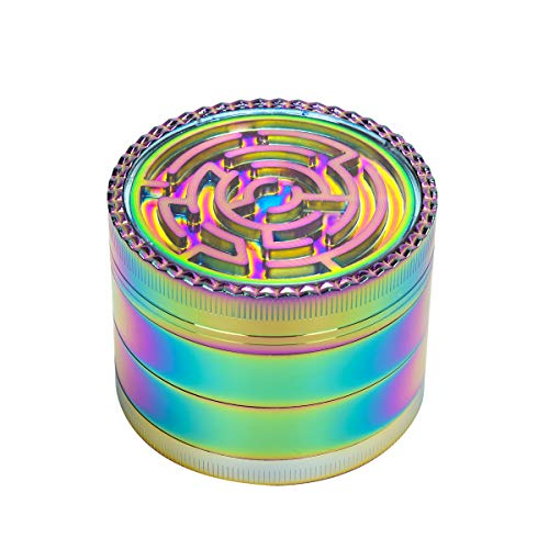 Vicyuns Colorful Grinder Zinc Alloy Rainbow Grinder Pollen 4 Pieces Herb Grinder With Magnetic Top 63×44mm